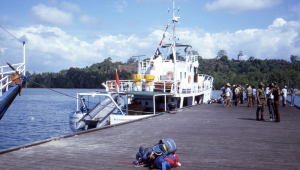 The research vessel 'Lipi' moored at the jetty at Wahai.