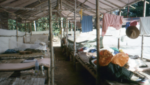 Our sleeping longhouse. No segregation here - everyone bunked in together.