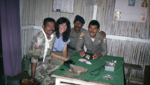Lorna with military staff involved in the rescue operation.
