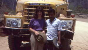 The logging truck and driver who kindly gave us a lift that saved a full days walk.