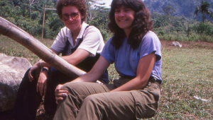 Liz (OR staff) and Lorna (Team leader - mammals) enjoying the sunshine on the edge of the school oval.