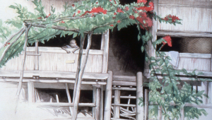 An artist on the expedition captures a classic village scene.