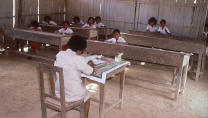 Village students in class at the school in Kanikeh.