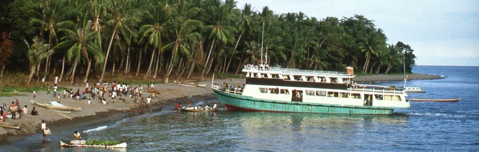 The ferry stops to pick up people, livestock and produce.